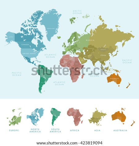 World Map Of Continents And Countries.Continents Countries On World Map Marked Stock Vector Royalty Free