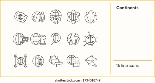 Continents line icon set. Globe, world, person, briefcase, handshake. Foreign affairs concept. Can be used for topics like global business, transaction, networking