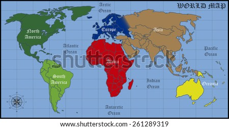 Continents Oceans World Stock Vector (Royalty Free) 261289319 ...
