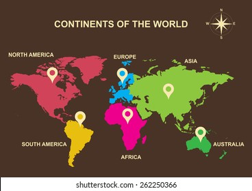 continents of the world, continents, Asia, Europe, Australia, South America, North America, Africa
