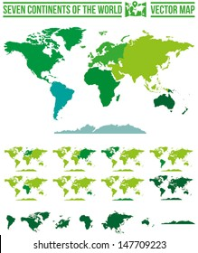 Continents world map vector. Full scalable vector map with separate maps for different continents.