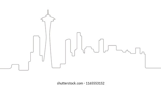 Continous line syline of Seattle. Vector illustration design