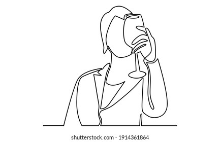 Continue line of woman holding glass of wine