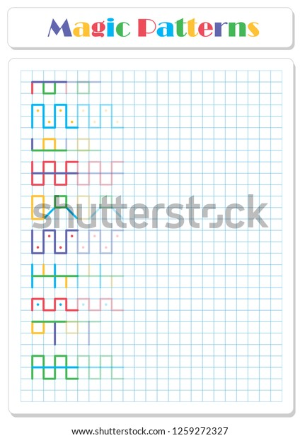 Continue Pattern Crayons Felttip Pens Worksheet | Abstract ...