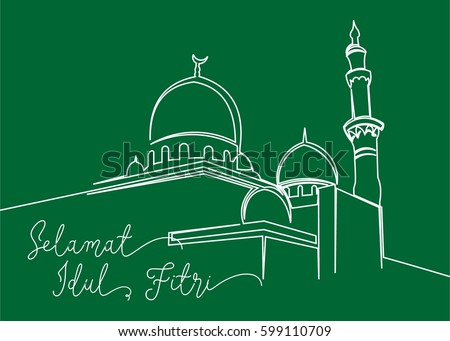 Continues line drawing masjid greeting card stock vector royalty continues line drawing of masjid greeting card contain wording selamat idul fitri in indonesian language m4hsunfo
