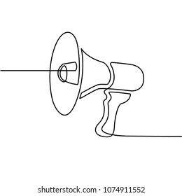 Continues Line Drawing of Megaphone Icon. Social Media Marketing Concept. Drawn by Hand on White Background. Vector Illustration.