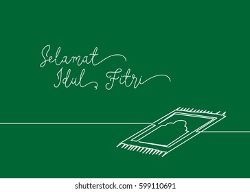 Continues line drawing of sajadah, little carpet that usually muslim use when praying to the God. Greeting card contain wording Selamat Idul Fitri in Indonesian language means Happy Eid Mubarak.