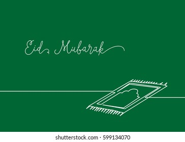 Continues line drawing of sajadah, little carpet that usually muslim use when praying to the God. Greeting card of Happy Eid Mubarak.