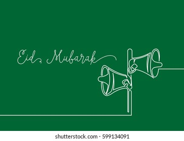 Continues line drawing of speakers that usually muslim use for spreading adzan, calling for praying. Greeting card of Happy Eid Mubarak.
