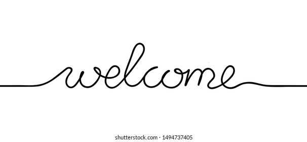 Continuous black line drawing word Welcome. Minimalist welcome concept. Vector illustration