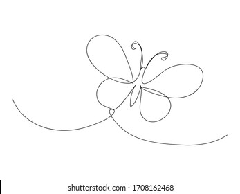 Continuous butterfly line drawing stock vector illustration isolated on white background