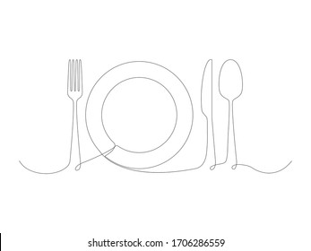 Continuous cooking icons line stock vector illustration isolated on white background. Fork, spoon, plate and knife one line.