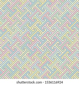 continuous diagonal stylized greek fret repeated motif. vector seamless baby pattern. simple green pink yellow blue gray pastel repetitive background. textile paint. fabric swatch. wrapping paper
