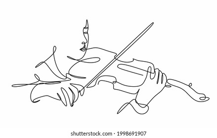 a continuous drawing of a boy with a violin in his hands . A young violinist plays a classical musical instrument. - Shutterstock ID 1998691907