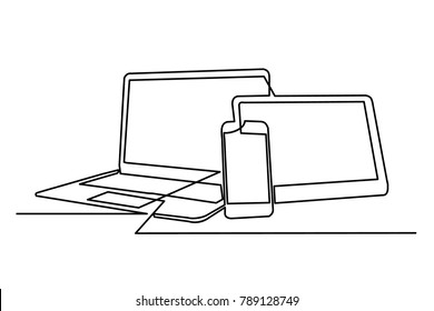 continuous drawing of a laptop computer, tablet and mobile phone. White background. Logo, business card. Image image for computer workshop training courses. Close-up