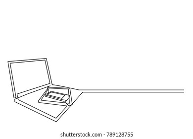 continuous drawing of a laptop computer, tablet and mobile phone. White background. Logo, business card. Image image for computer workshop training courses. Free place