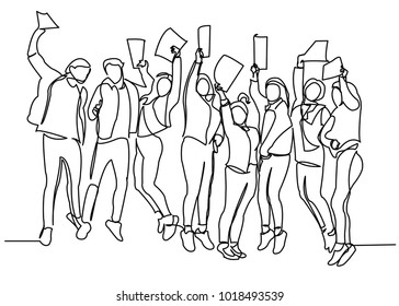 Continuous drawing of a line of five sitting happy team members. One continuous hand-drawn hand silhouette. line art. character of teenagers is a symbol of joy and happiness