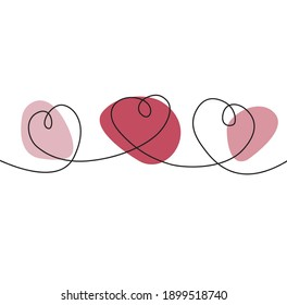 Continuous drawing of the three-hearted line, Valentine's Day. Vector illustration with minimalist and elegant shapes.