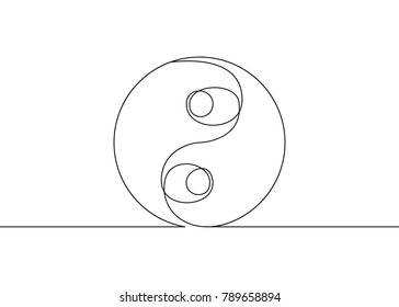 Continuous drawn one line isolated symbol of the emblem of religion.Daoism Taoism. Yin Yang icon.