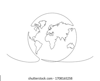Continuous Earth line drawing stock vector illustration isolated on white background
