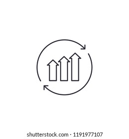 continuous growth, line vector icon