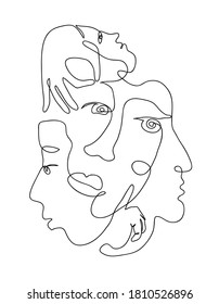 Continuous hand drawing style art. Black and white abstract composition with people portrets and body parts. Textile, paper, wall print artistic pattern. Contemporary one line art design in wire frame