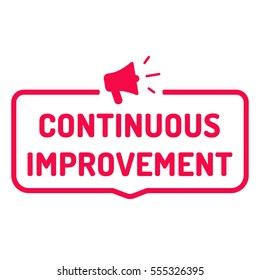 Continuous improvement. Badge with megaphone icon. Flat vector illustration on white background.