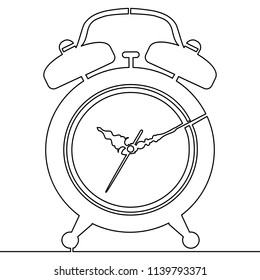 Continuous line alarm clock drawn on white background. Single line drawing Vector