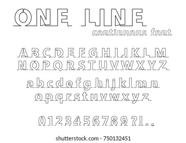 Continuous line alphabet and numbers on white background. Vector illustration