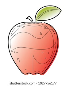 Continuous Line Apple Vector