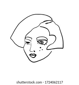 Continuous line art abstract woman face. Contemporary girl portrait vector illustration