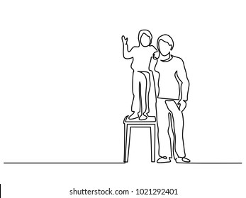 Continuous Line Art Drawing. Happy young father with little son standing on a stool. Vector Illustration