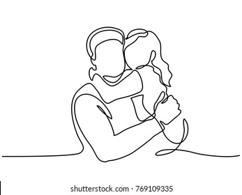 Continuous Line Art Drawing. Happy young father hug little daughter. Vector Illustration