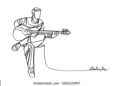 Continuous line art or  continuous line drawing of sitting guitarist playing guitar.-Vector Illustration