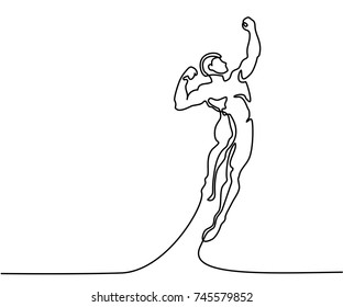 Continuous Line Art Drawing. Strong man jumping higher for sucsess. Vector Illustration