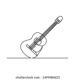 continuous line art drawn one line musical instrument guitar hand-drawn picture silhouette. Line art. guitar