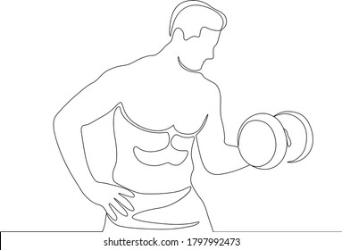 continuous line art of Fitness club with exercising athletic man