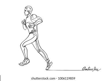 Continuous line art or One Line Drawing of athlete running fast.- Vector Illustration