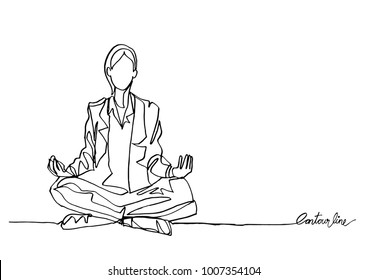 Continuous line art or One Line Drawing of woman meditating.- Vector