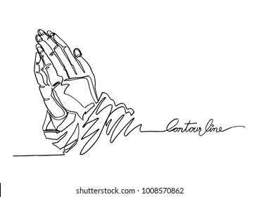 Continuous line art or One Line Drawing of prayer hand.- Vector Illustration