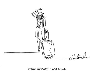 Continuous line art or One Line Drawing of traveler walking rolling bag on wheels.- Vector illustration