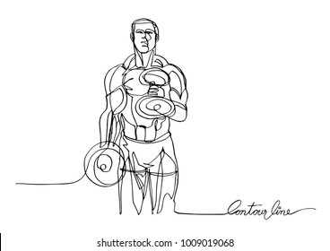 Continuous line art or One Line Drawing of a Strong Athletic Guy Lifting Weights.- Vector illustration