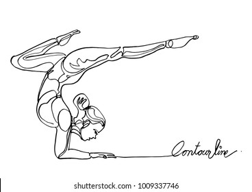 Continuous line art or One Line Drawing ofWoman doing exercise in yoga pose.-Vector Illustration