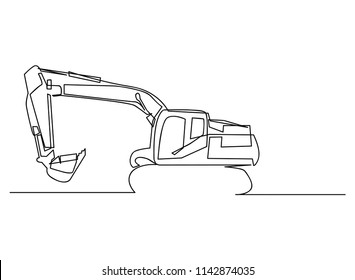 Continuous line art or One Line Drawing backhoe Vector construction Vector illustrations