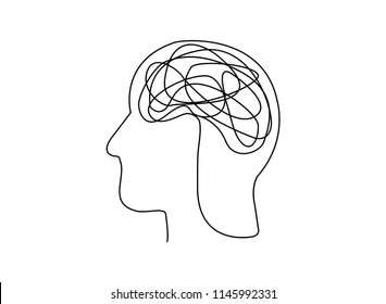 Continuous line art or One Line Drawing of a human brain, mechanical and robotic technology with advanced vector illustration.