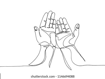 Continuous line art or One Line Drawing of prayer hand, linear style and Hand drawn.- Vector illustrations