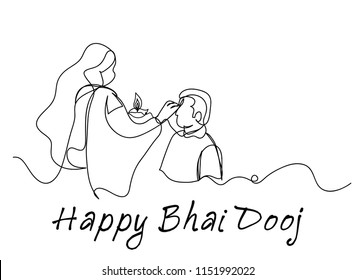 Continuous line art or One Line Drawing of Happy Bhai dooj day