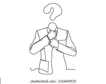 Continuous line art or one line drawing of a business head is a skeptical business concept about skepticism. Of marketing illustrated vector