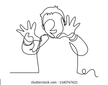 Continuous line art or One Line Drawing of children's hands are palms. linear style and Hand drawn vector illustrations, outline