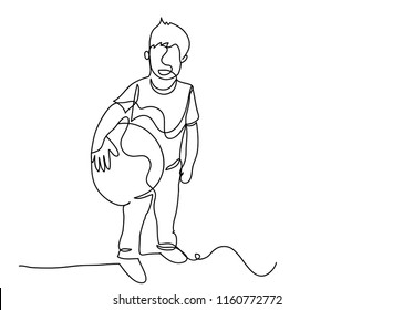 Continuous line art or One Line Drawing of a child holding a ball Play fun ideas. linear style and Hand drawn vector illustrations, outline